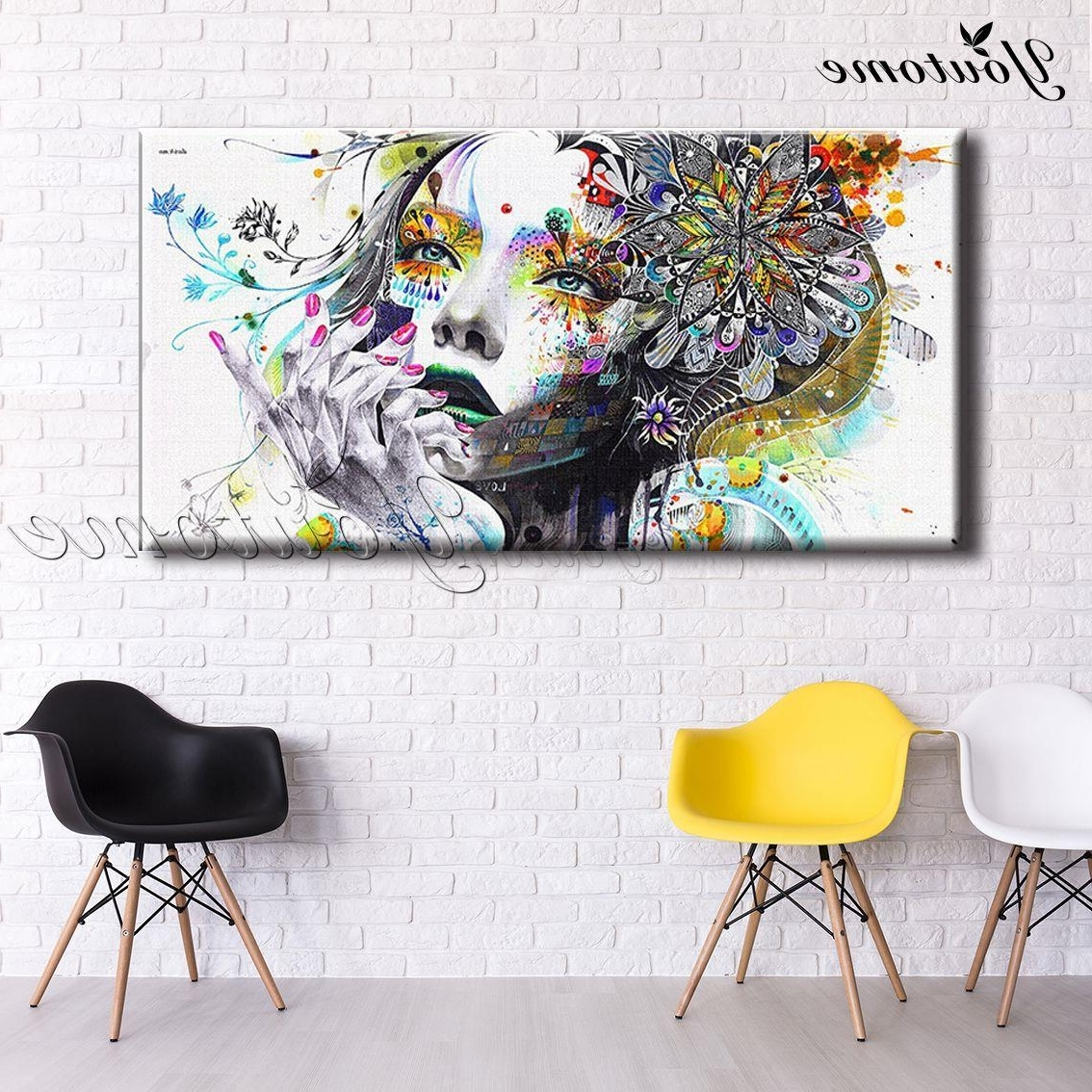 Trendy Wall Art Fabric Prints In Psychedelic Fabric Girl Modern Wall Art Girl With Flowers Painting (View 9 of 15)