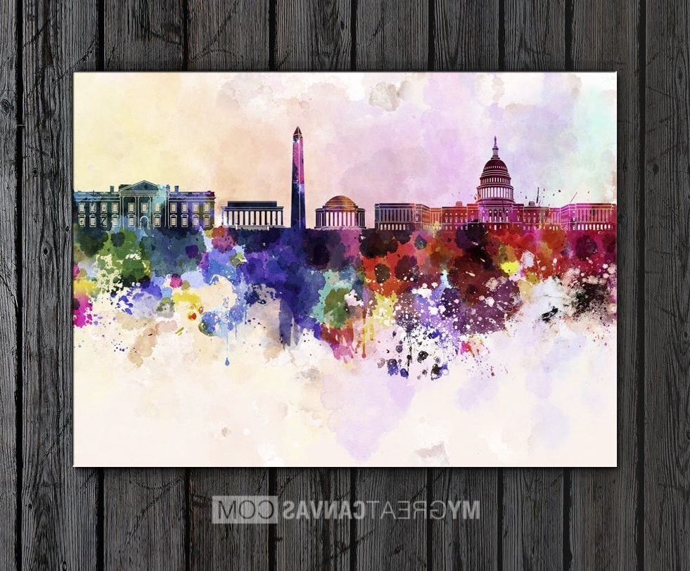 Trendy Washington Dc Framed Art Prints With Regard To Large Wall Art Watercolor Ink Splashed Washington Skyline Art (View 9 of 15)