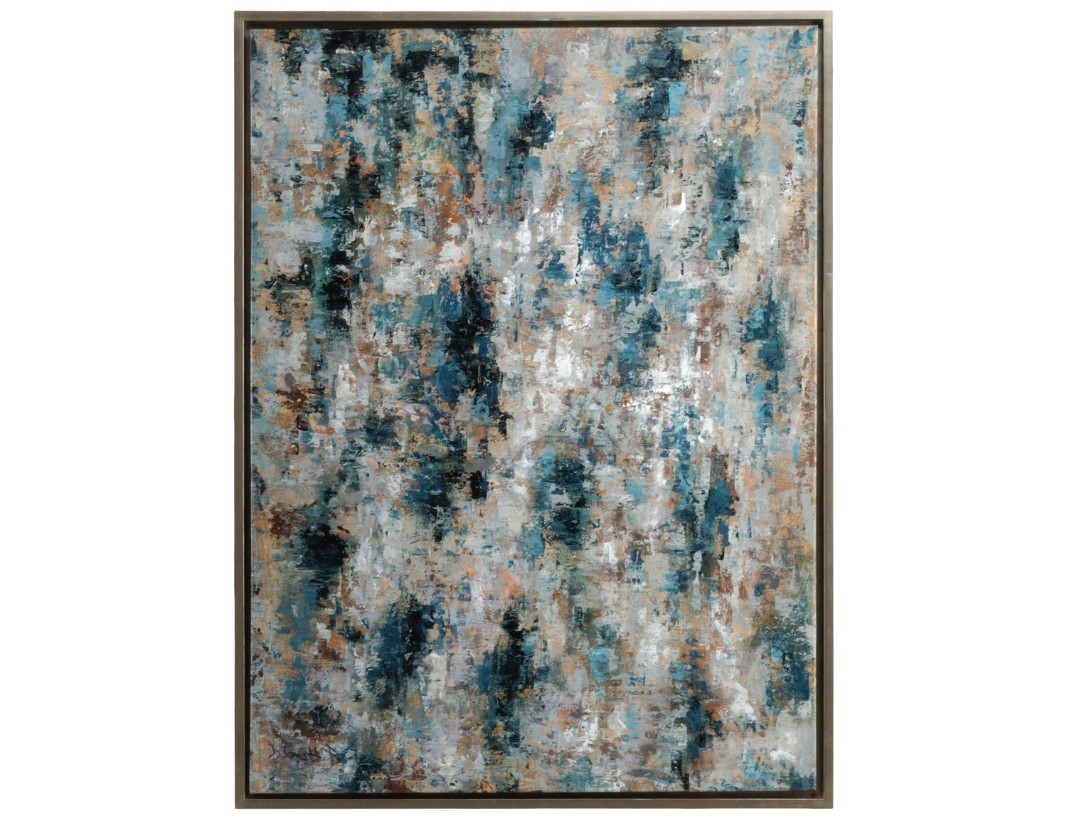 Trendy Wildwood Lamps Blue Birch Framed Oil Artists Work Stretched Canvas With Blue And Brown Canvas Wall Art (Gallery 15 of 15)