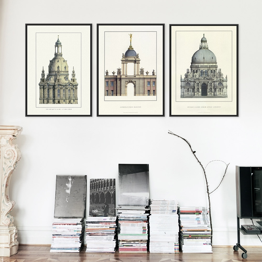 Triptych Classic European Palace Famous Scenery Art Prints Poster Inside Famous Architectural Wall Accents (View 10 of 15)