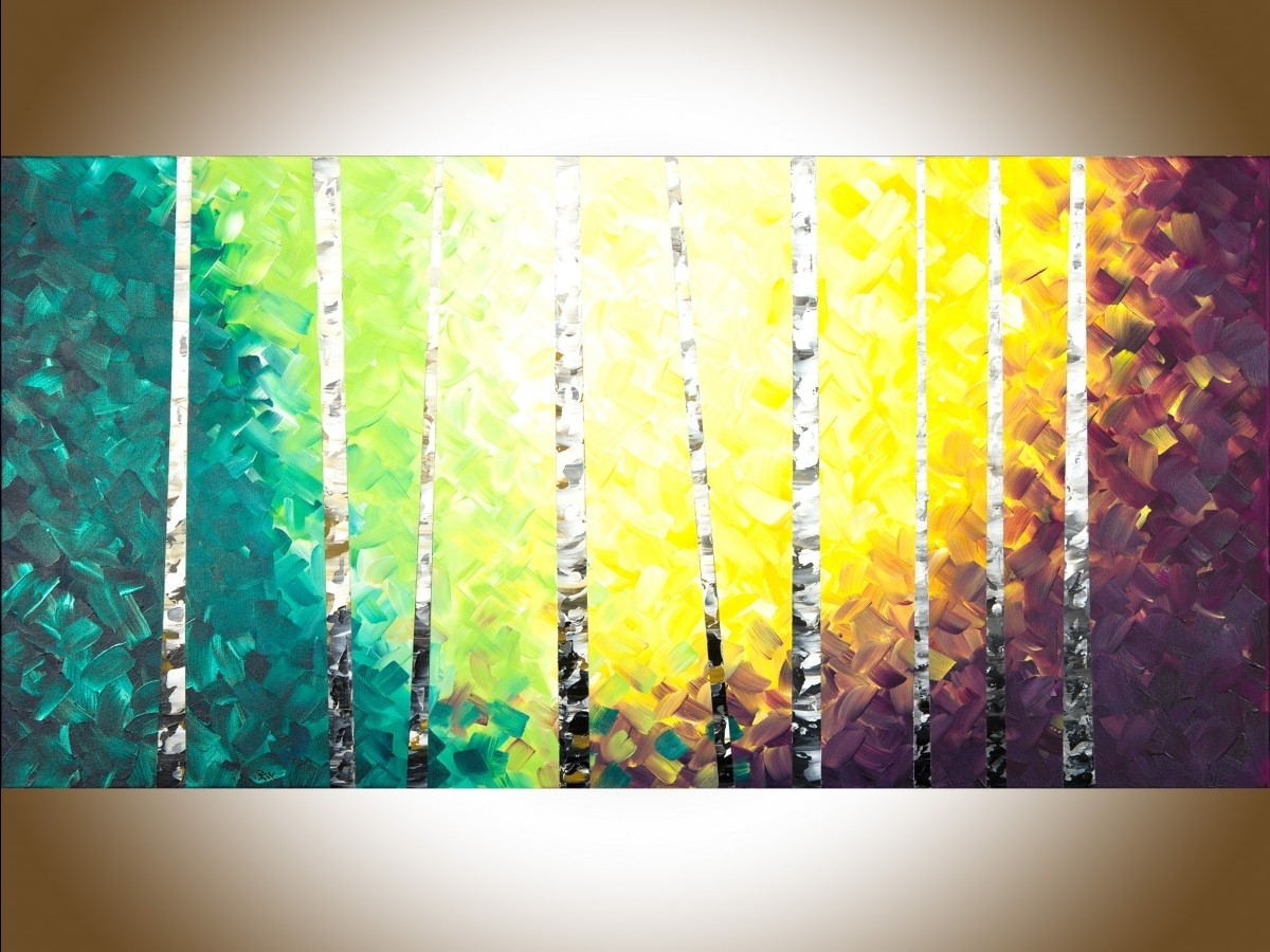 "Twilight Birch Treesqiqigallery 48"" X 24"" Colourful Painting Regarding Latest Birch Trees Canvas Wall Art (View 12 of 15)"