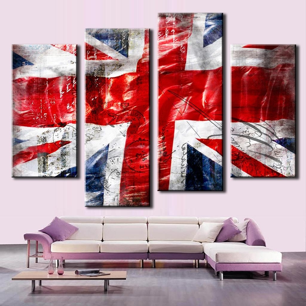 Union Jack Canvas Wall Art Pertaining To Preferred Hot 4 Pcs/set Combined Wall Art Painting Print On Canvas Red Blue (View 8 of 15)