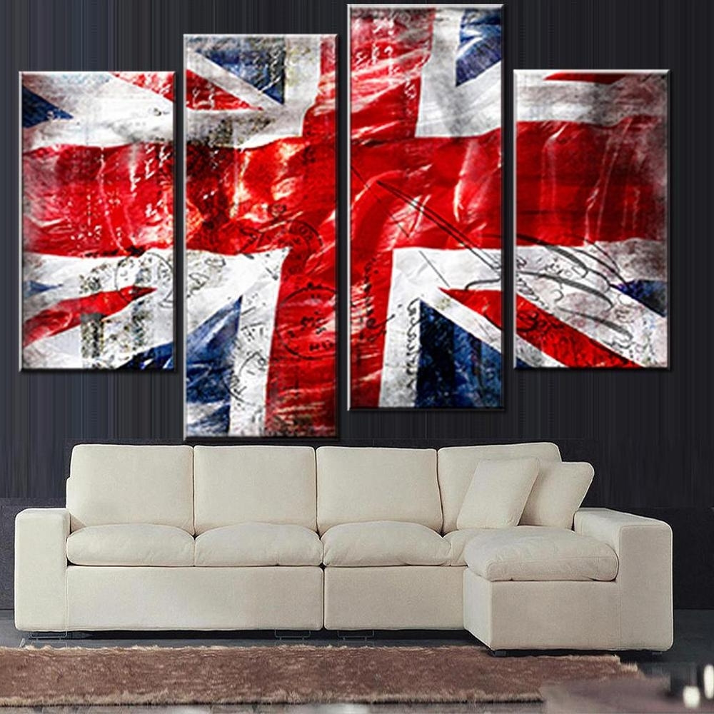 Union Jack Canvas Wall Art Throughout 2017 4 Pcs/set Still Live British Flag Wall Art Picture Modern Combined (View 9 of 15)