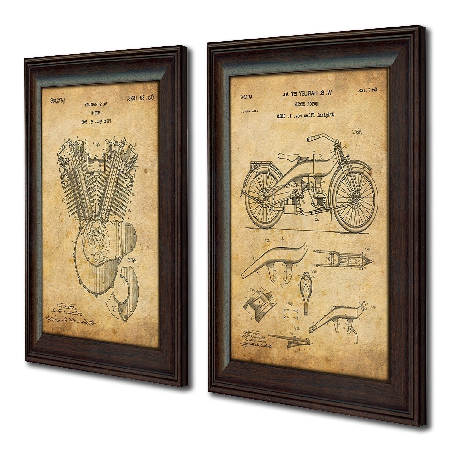 Vintage Bath Framed Art Prints Set Of 3 For Fashionable Amazon: Harley Davidson Patent Prints – Framed Behind Glass (View 8 of 15)