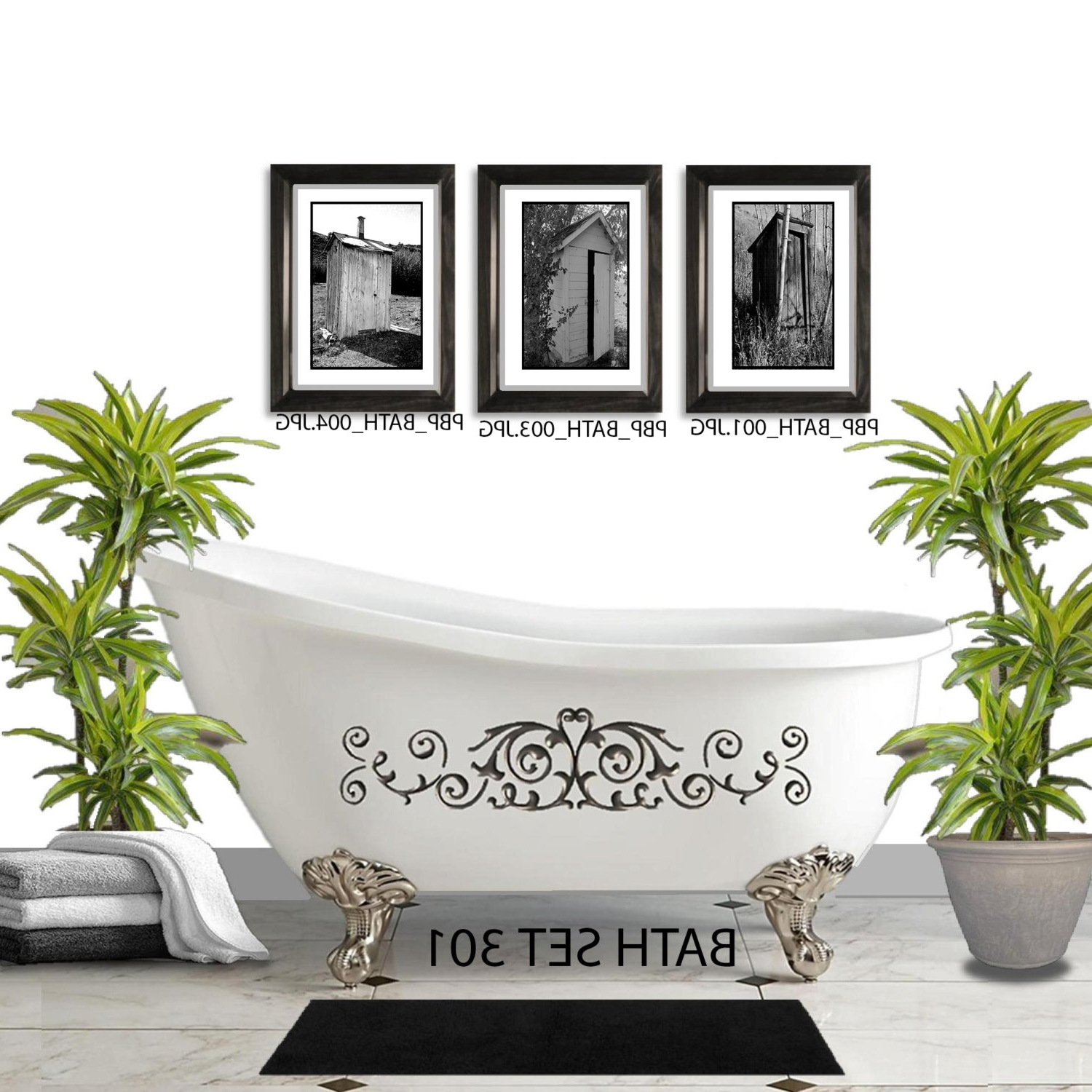 Vintage Bath Framed Art Prints Set Of 3 With Regard To Most Recent Wall Sets – Picturebypicturedesigns (Gallery 7 of 15)
