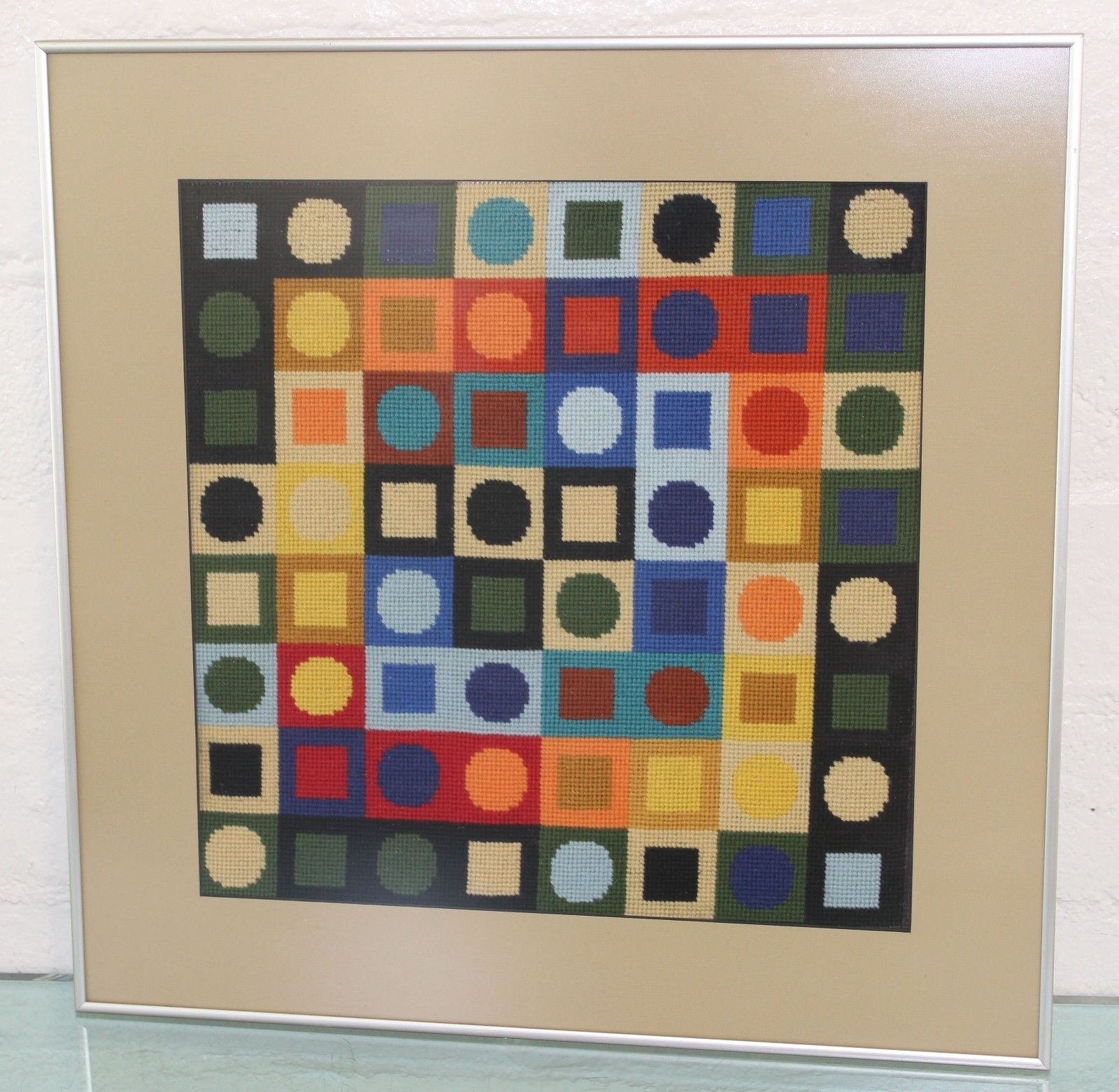 Vintage Mid Century Mod Vasarely Era Geometric Modernist Within Popular Mid Century Textile Wall Art (View 14 of 15)