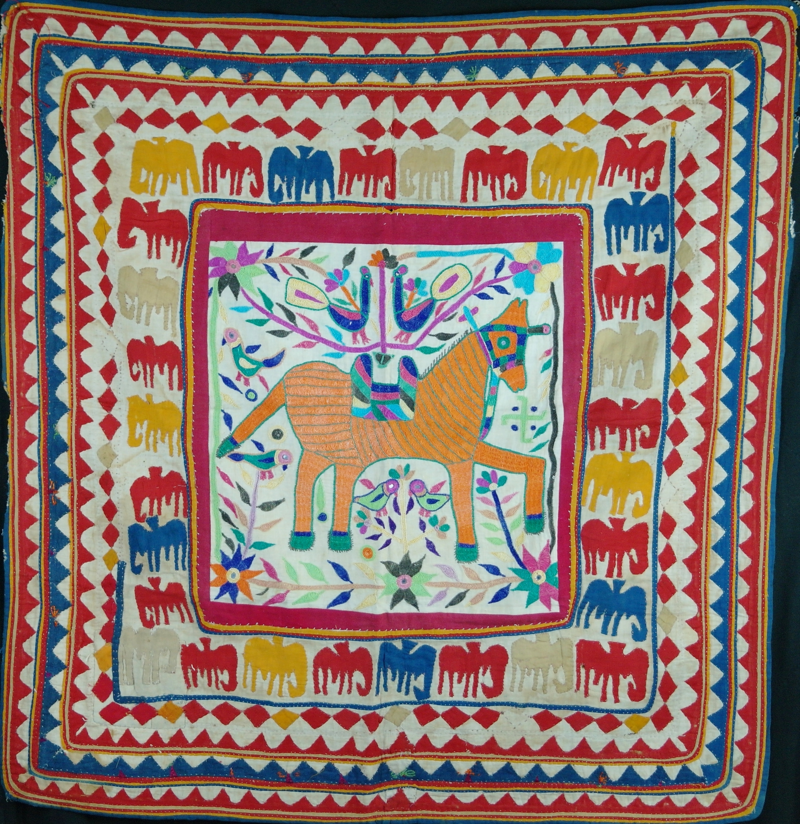 Vintage Textile Wall Art For Most Recently Released Unusual Vintage Gujarati Chakla ,wall Hanging Madekambi (View 12 of 15)