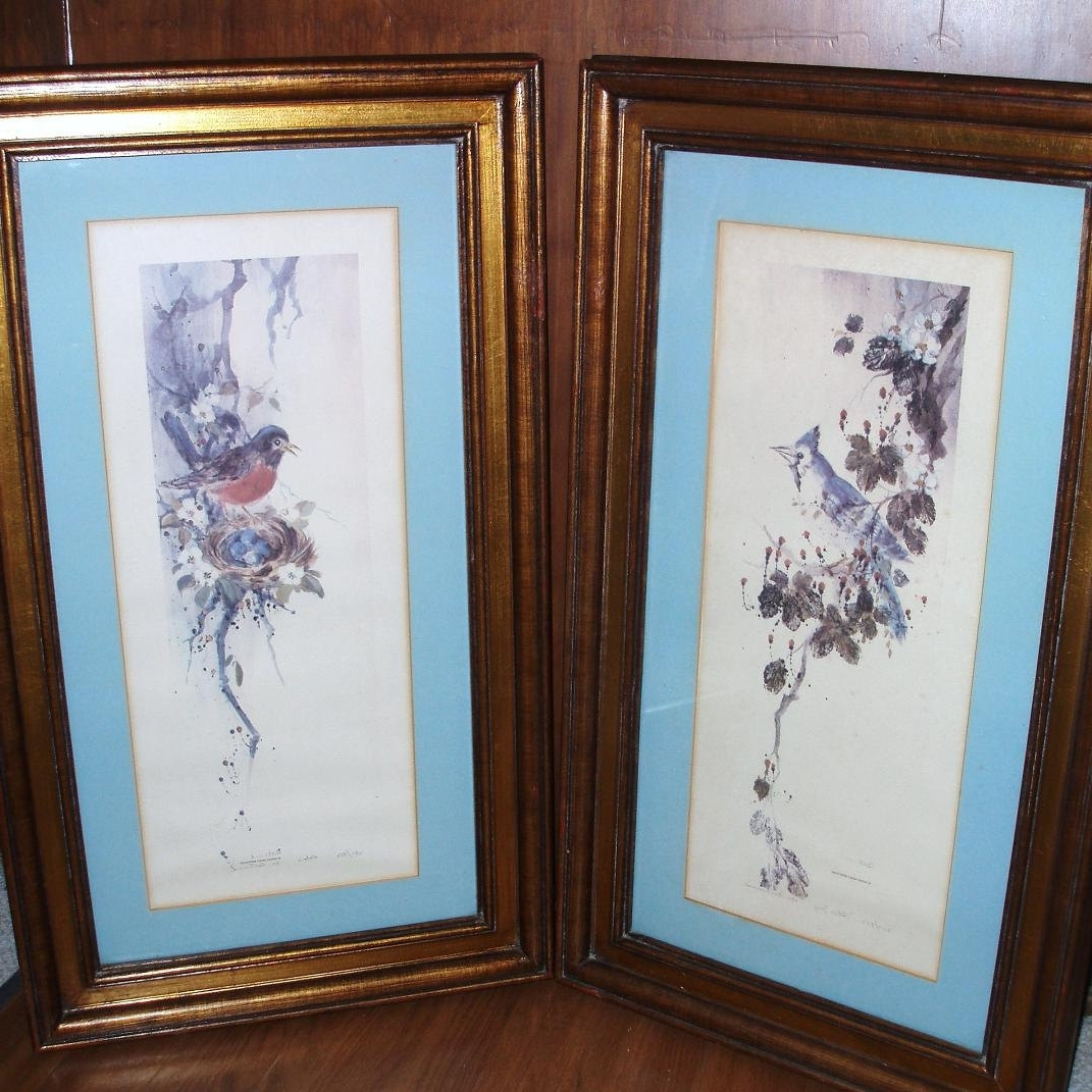 Vintage Wood Framed Bird Prints Robin Blue Jay Watercolor Prints In Recent Birds Framed Art Prints (Gallery 8 of 15)