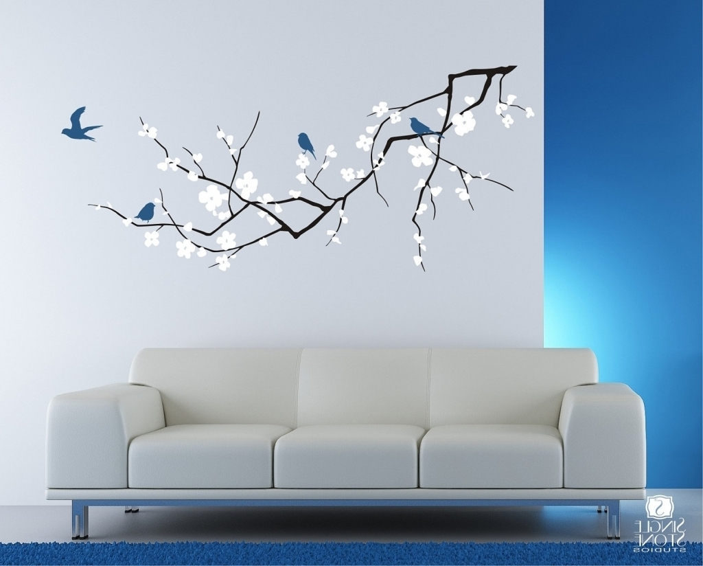 Vinyl Stickers Wall Accents With Well Known Decorations Excellent Cherry Blossom Branch Wall Decal For With (Gallery 1 of 15)