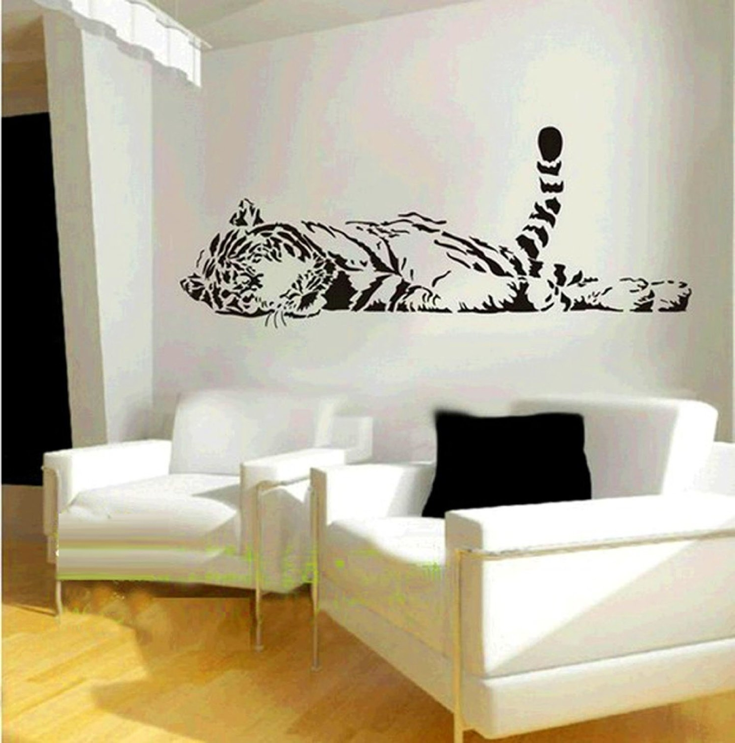 Vinyl Stickers Wall Accents Within 2017 Amazon: Animal Wild Zoo Lying Tail Up Tiger Wall Decal Sticker (Gallery 15 of 15)