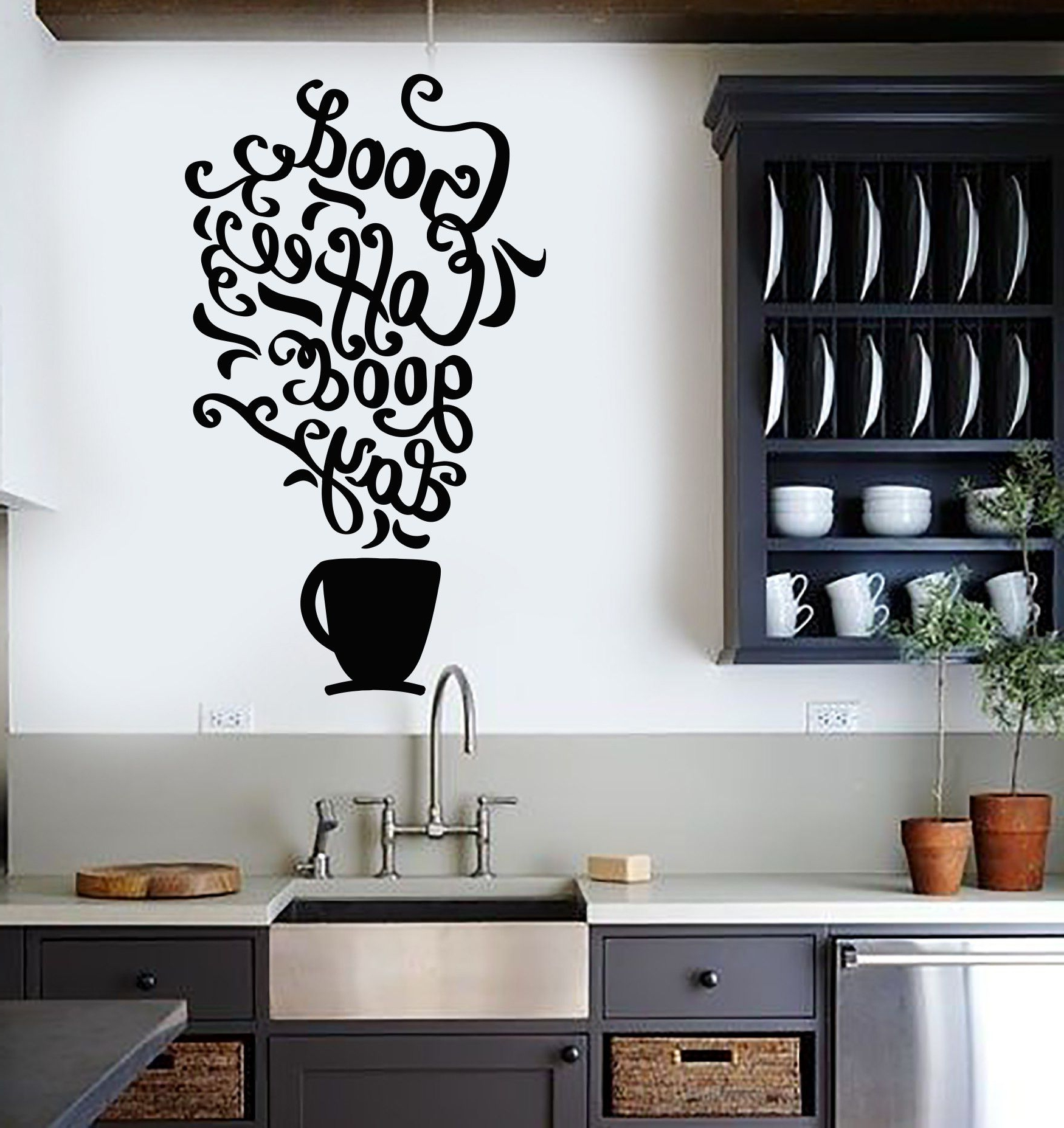Vinyl Wall Decal Quote Coffee Kitchen Shop Restaurant Cafe Art With Popular Vinyl Wall Accents (View 12 of 15)