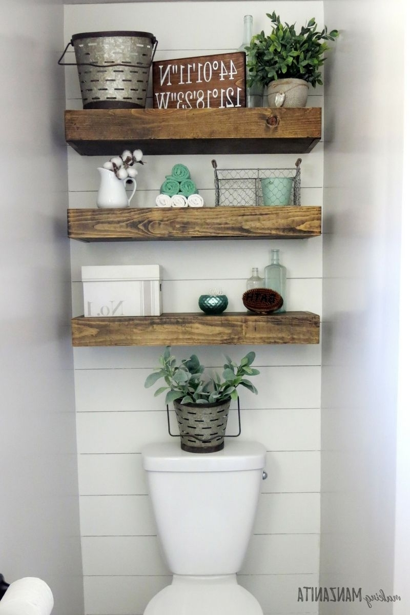 Wall Accents Behind Toilet For Trendy Farmhouse Master Bathroom Reveal (View 10 of 15)