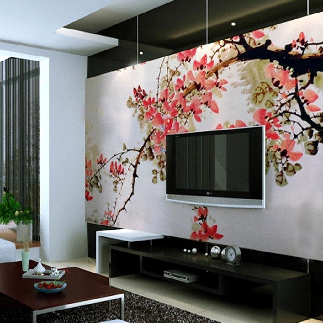 Wall Accents Behind Tv With Regard To Well Liked Pink Floral Wallpaper Ideas Behind Black Hung Screen Tv In Living (View 13 of 15)