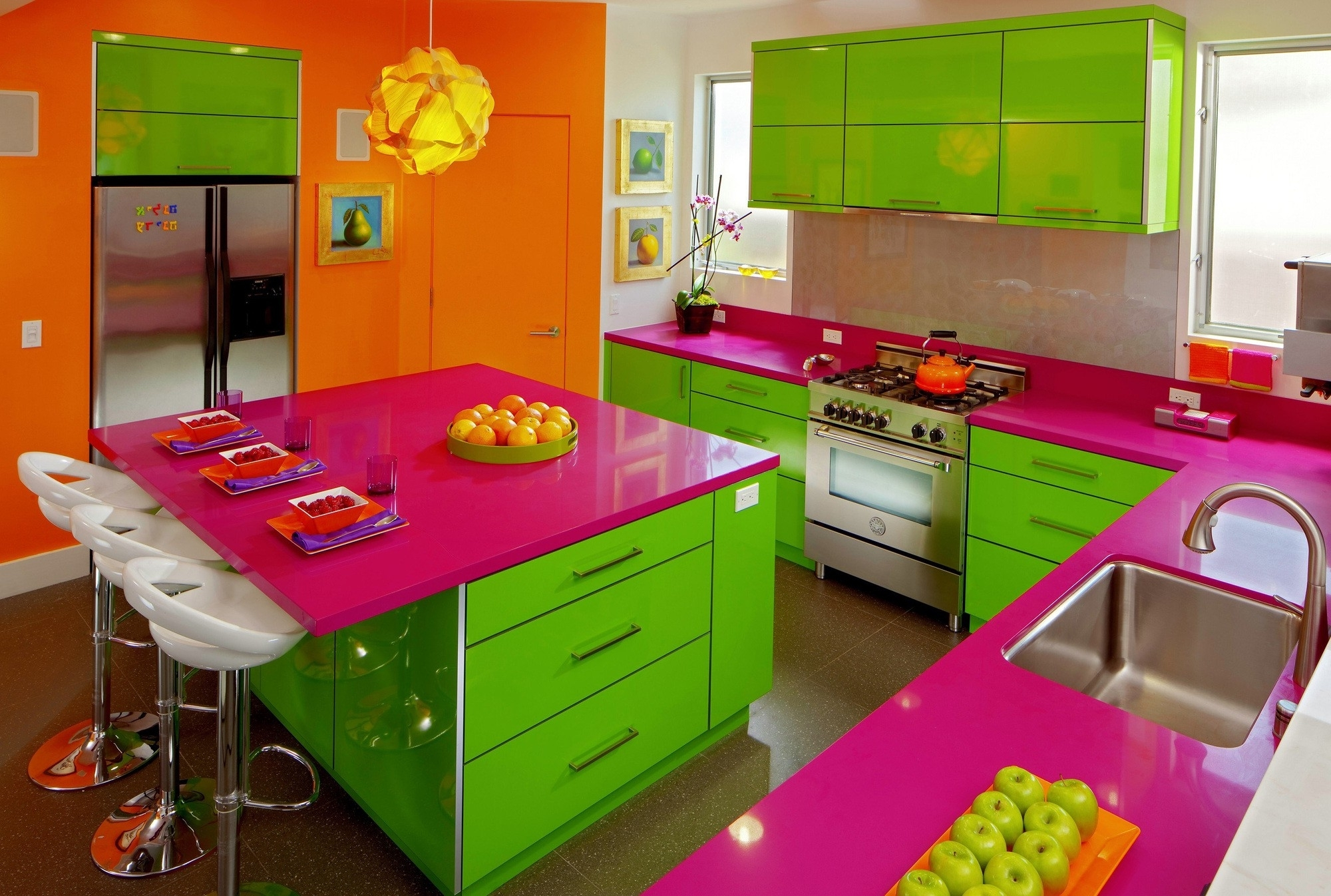 Wall Accents Cabinets With Regard To Latest Bright Accent Wall Color Scheme Of Modern Kitchen Design (View 13 of 15)