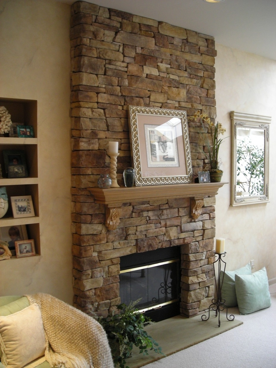 Wall Accents For Fireplace Pertaining To Most Recently Released Interior: Classy Living Room Design Ideas With Brown Stone (View 13 of 15)