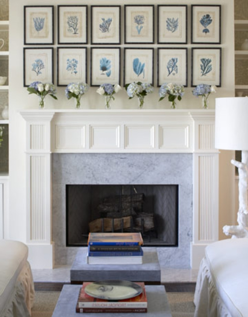 Wall Accents Over Fireplace Throughout Fashionable Outstanding Living Room Decoration Using Aged Light Brown Brick (View 8 of 15)