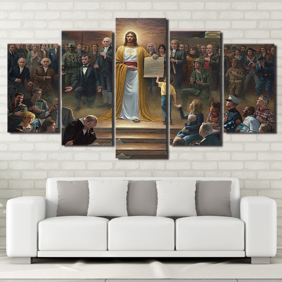 Wall Art Canvas Pictures Home Decor Frame 5 Pieces Classic With Most Up To Date Jesus Canvas Wall Art (View 6 of 15)