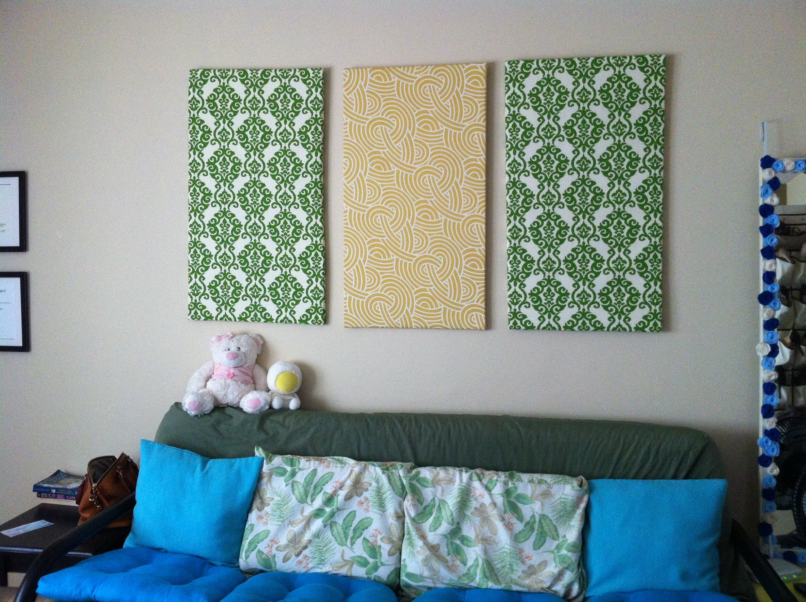 Wall Art Decor Ideas: Canvas Separated Panels Diy Fabric Wall Art Pertaining To Current Inexpensive Fabric Wall Art (View 11 of 15)