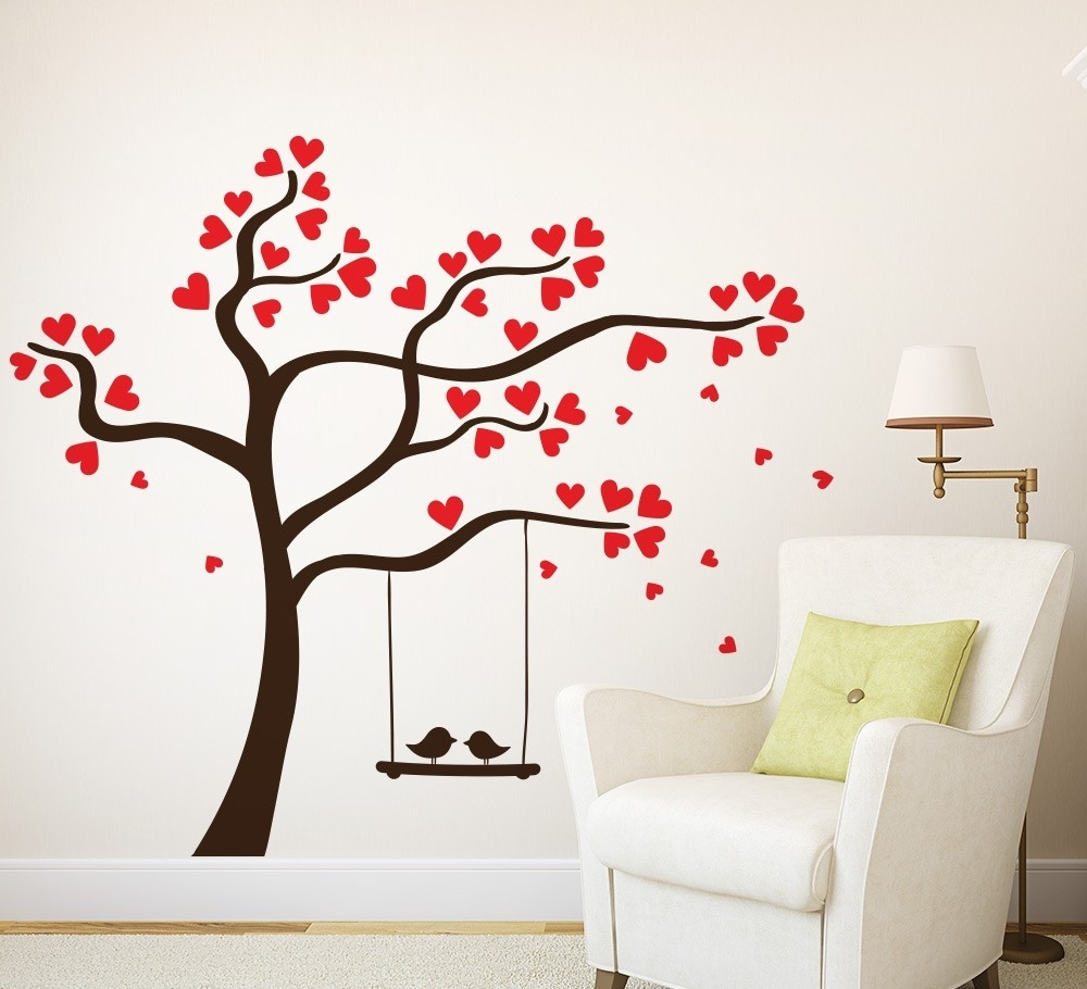 Wall Art Decor Ideas: Personalized Love Birds Wall Art, Nojo Love Inside Popular Fabric Tree Wall Art (View 13 of 15)
