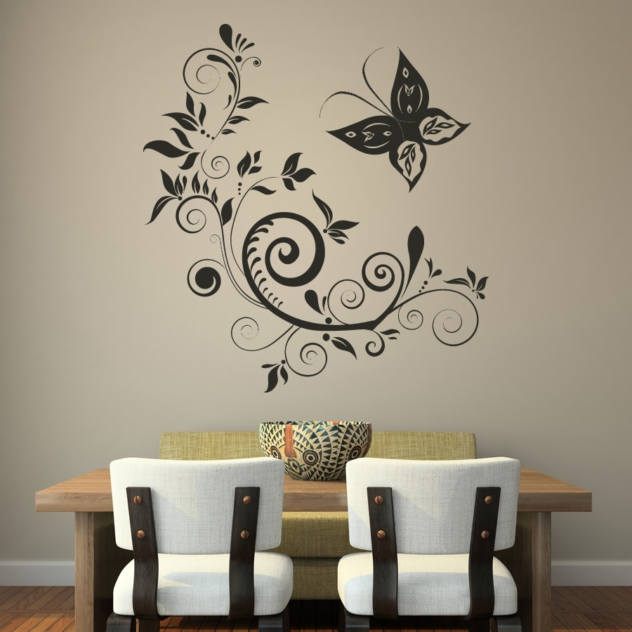 2018 popular fabric butterfly wall art for Butterfly design on wall