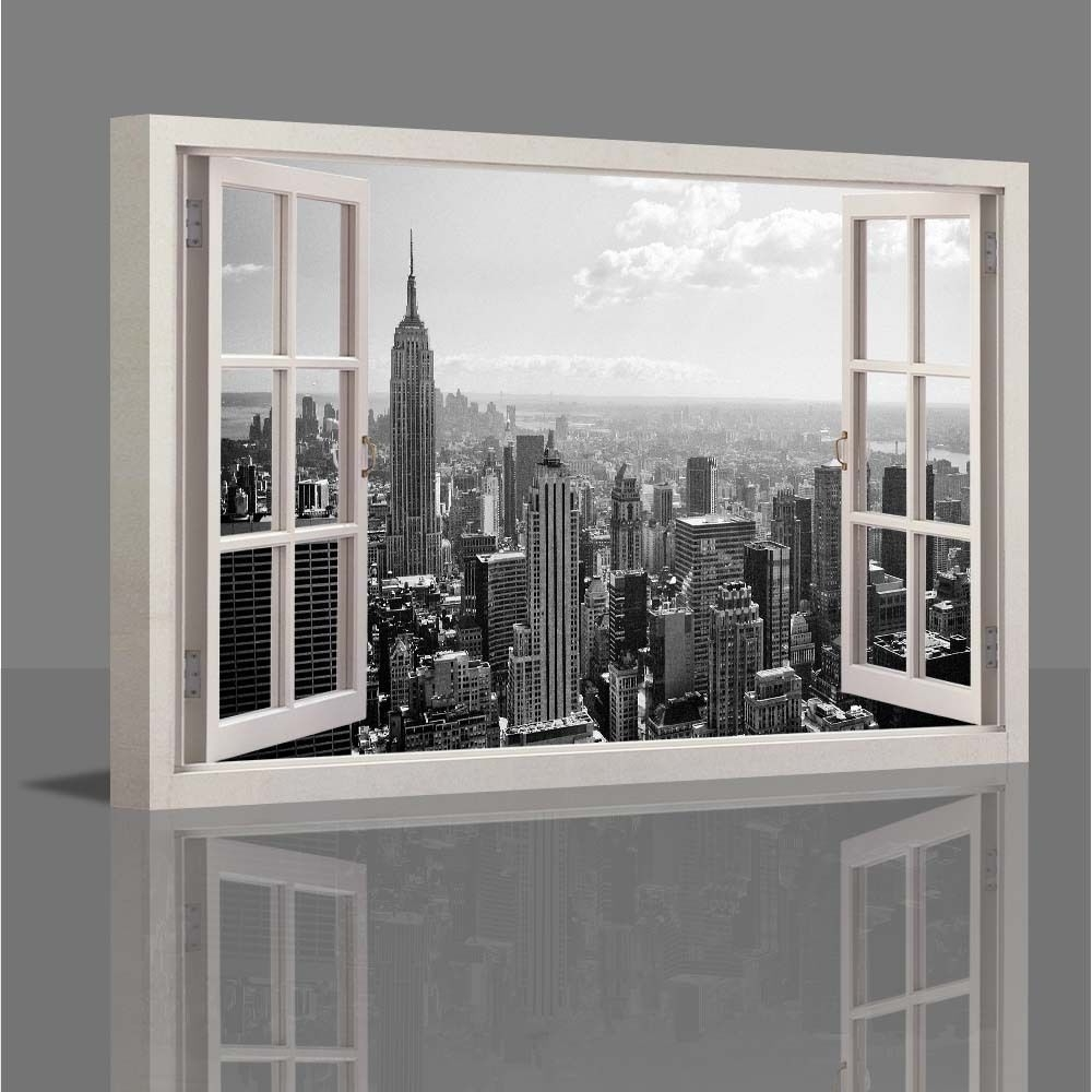 Wall Art Decor: Wooden Canvas Wall Art New York Window Inside Favorite Canvas Wall Art Of New York City (View 13 of 15)