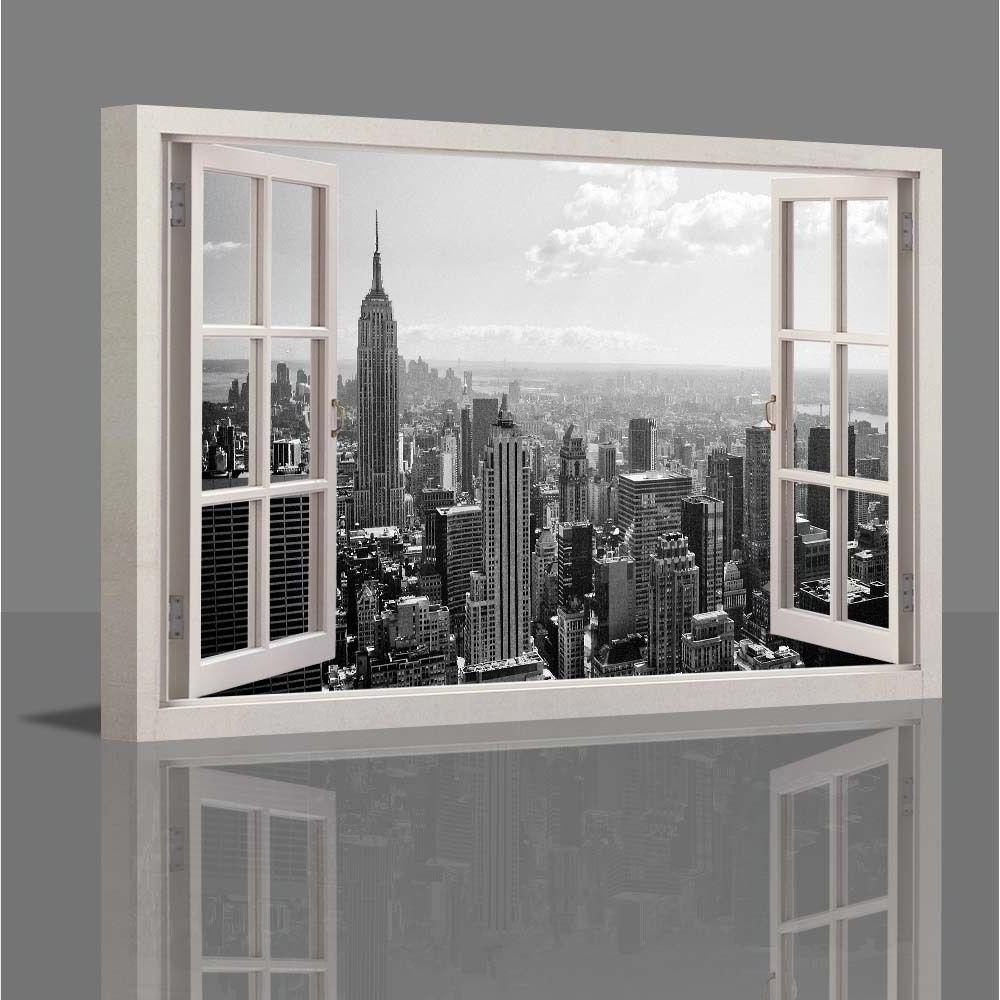 Wall Art Decor: Wooden Canvas Wall Art New York Window Inside Favorite  Canvas Wall Art
