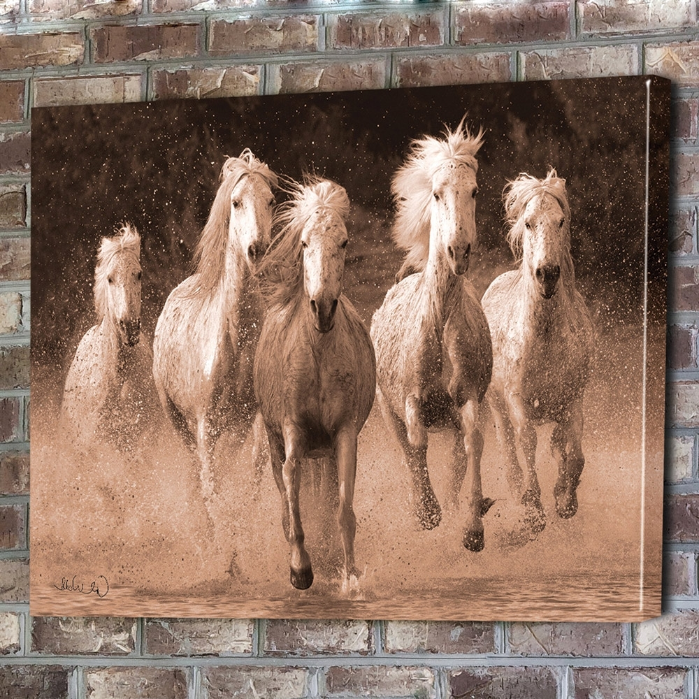 Wall Art Design: Horse Canvas Wall Art Rectangle Brown Five Horse Throughout Current Horses Canvas Wall Art (View 3 of 15)