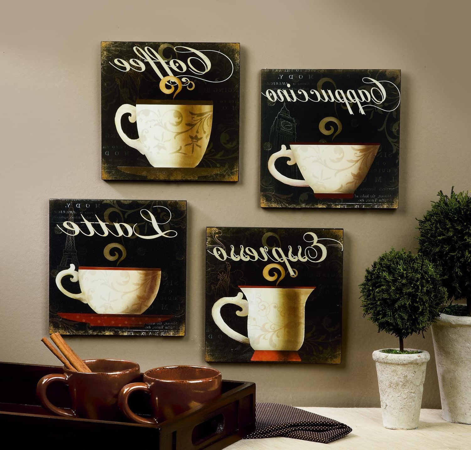 Wall Art Design Ideas: Simple House Coffee Wall Art Decorative With Fashionable Coffee Canvas Wall Art (View 15 of 15)