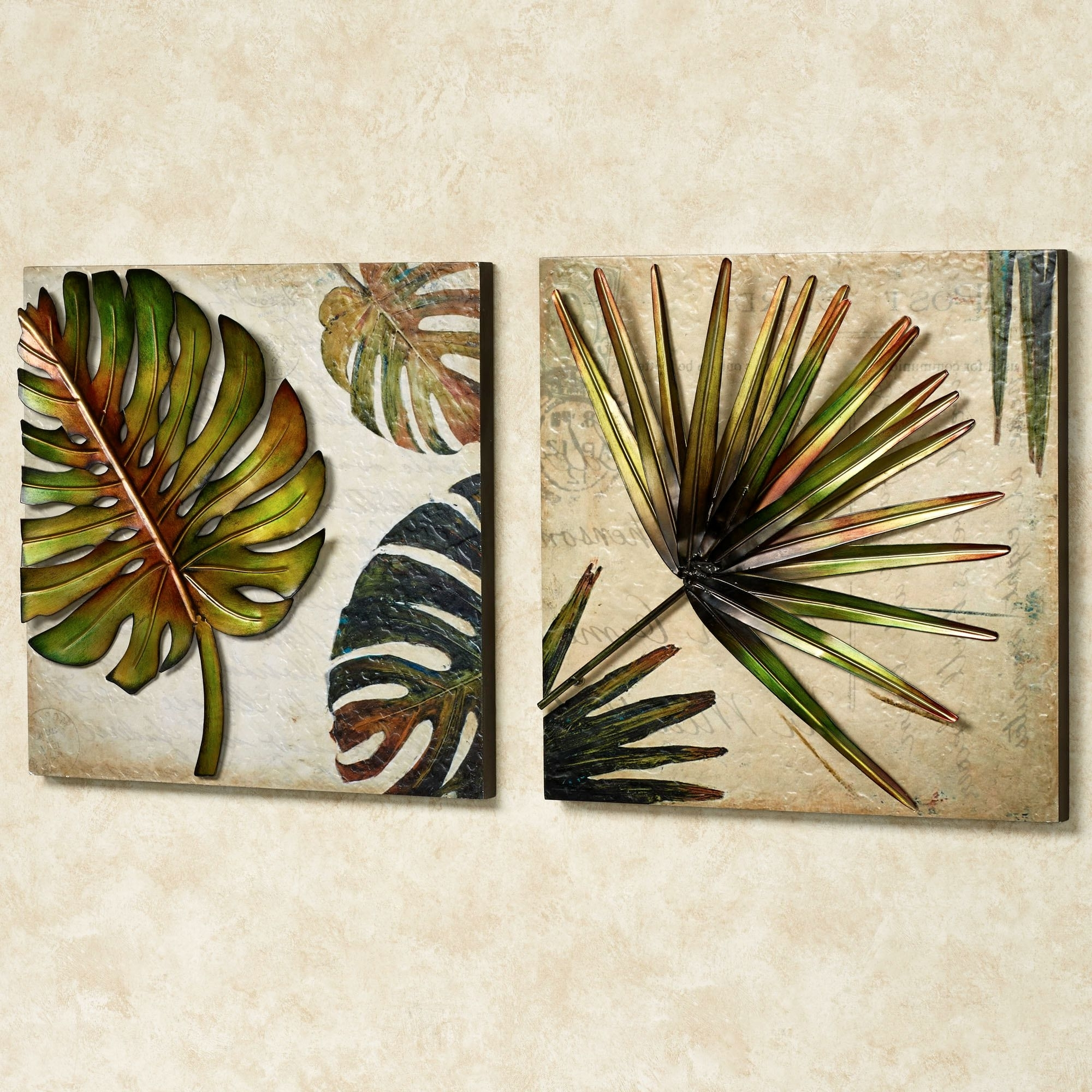 Wall Art Ideas Design : Combination Metal Tropical Wall Art Multi Within Fashionable Leaves Canvas Wall Art (View 13 of 15)