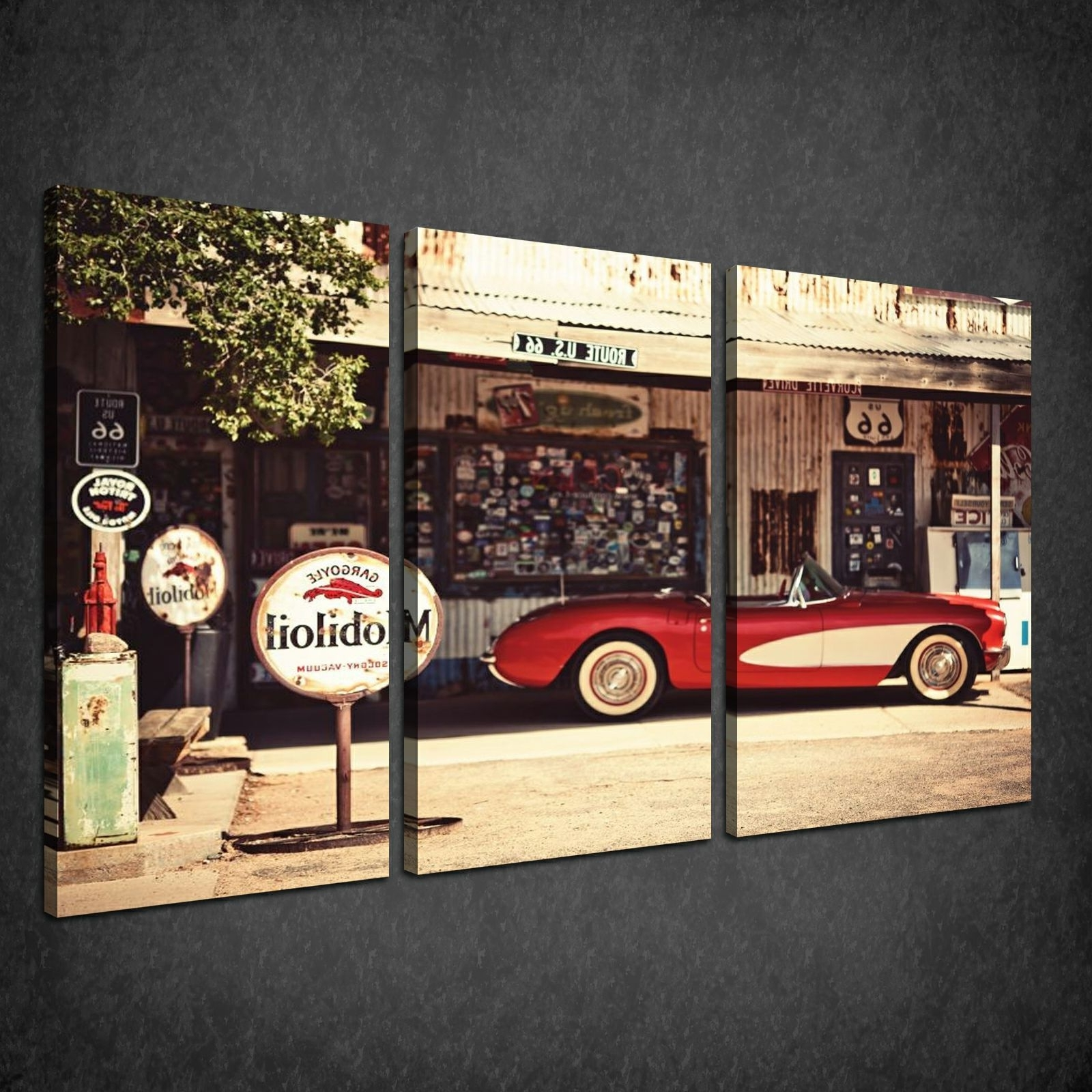 Wall Art Ideas Design : Vintage Themed Classic Car Wall Art Pertaining To 2018 Retro Canvas Wall Art (View 1 of 15)