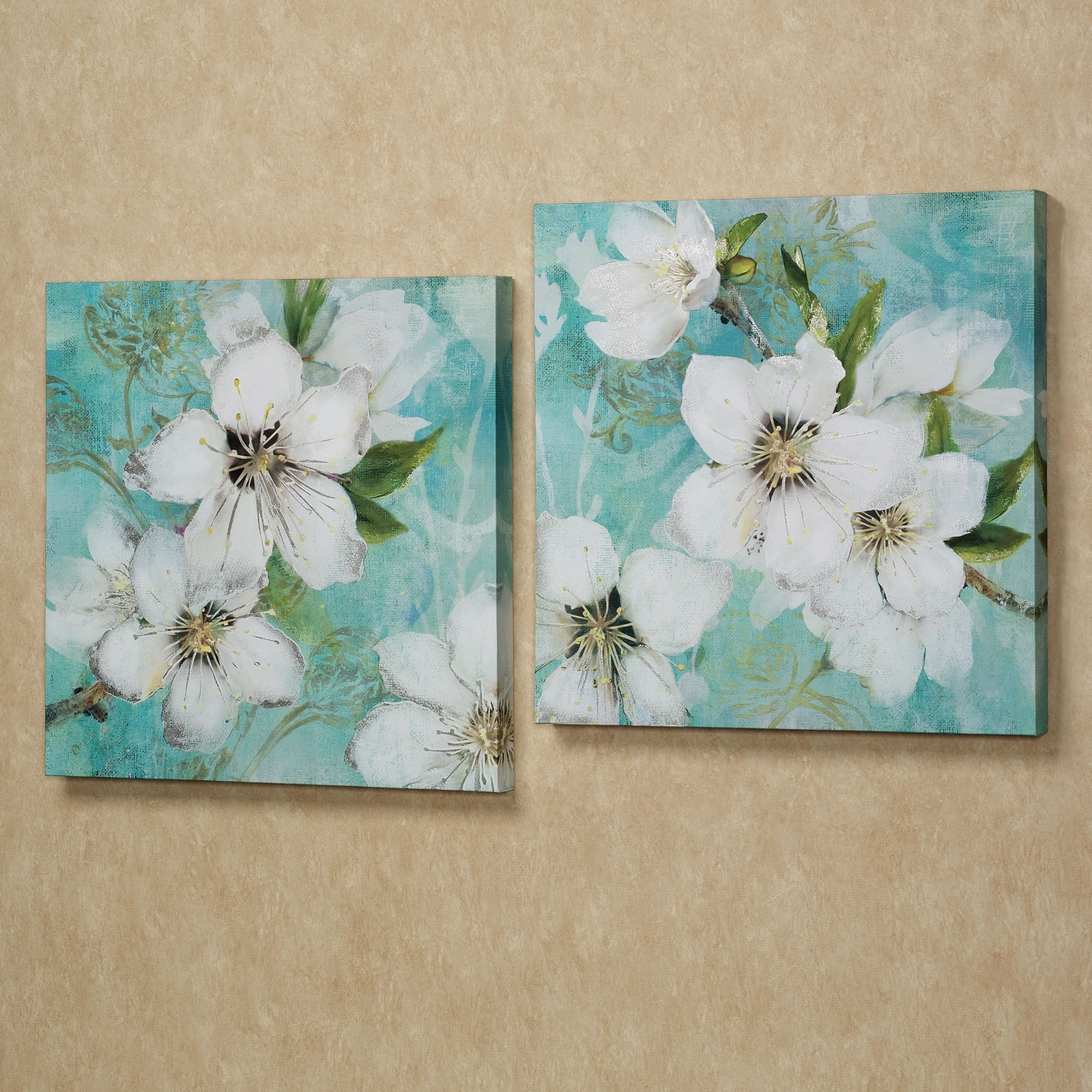Wall Art Ideas : Flowers Bloom Giclee Wall Art Canvas White Set Within Famous Embellished Canvas Wall Art (View 11 of 15)