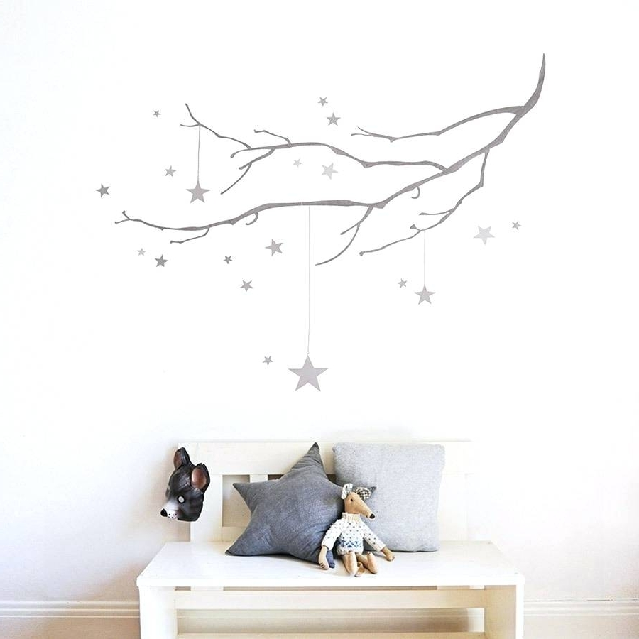 Wall Arts ~ Rustic Metal Star Wall Art Winter Branch With Stars With Regard To Fashionable Rustic Fabric Wall Art (View 14 of 15)