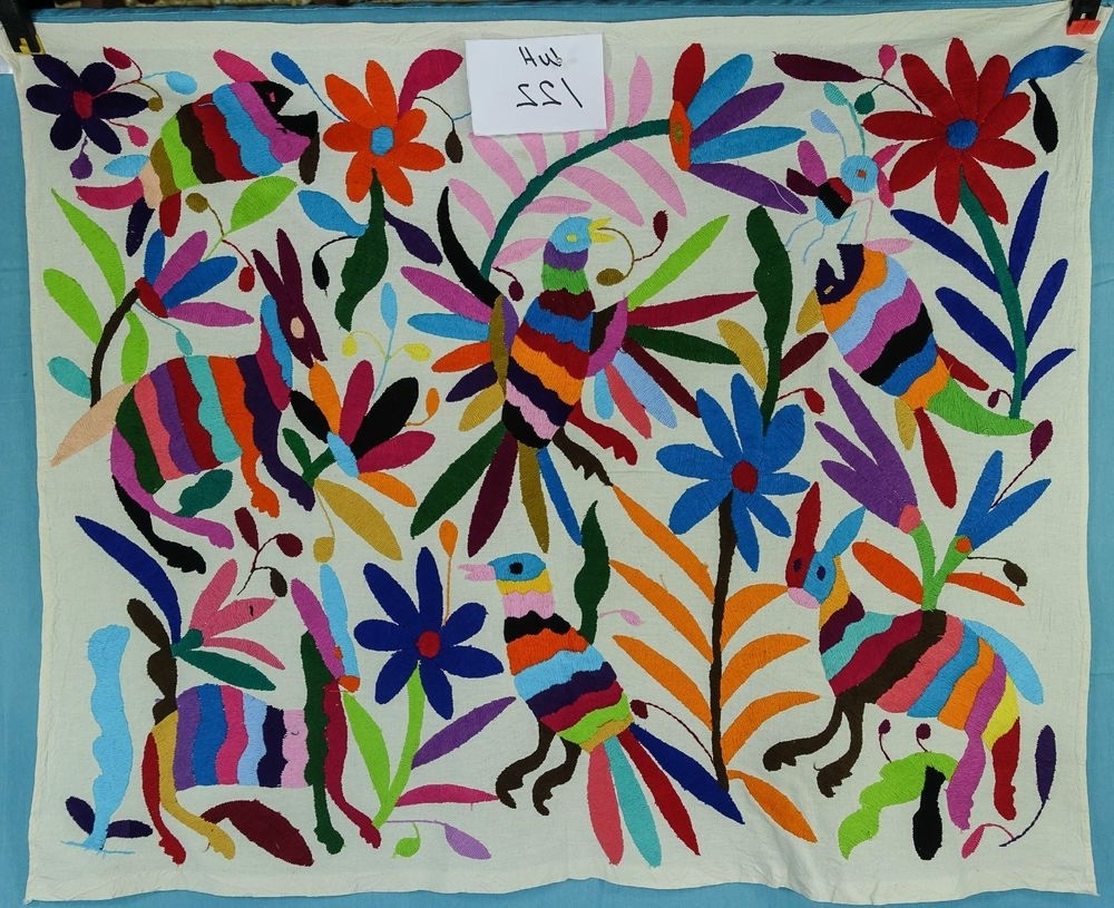 Wall Hanging, Mexican Textile , Otomi Fabric, Hand Embroidered Throughout Well Known Mexican Fabric Wall Art (View 15 of 15)