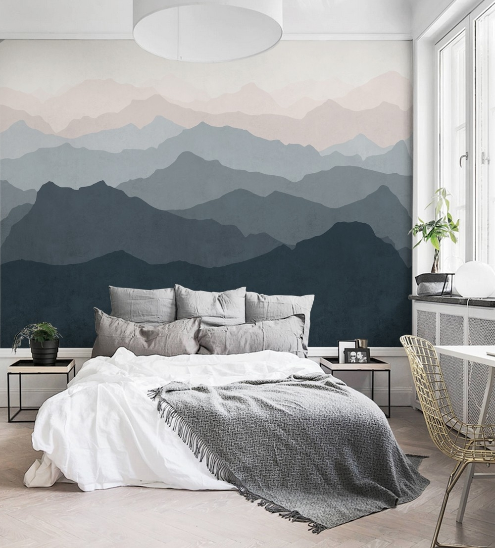 Wallpaper Bedroom Wall Accents Regarding 2017 Mountain Mural Wall Art Wallpaper – Peel And Stick (View 15 of 15)