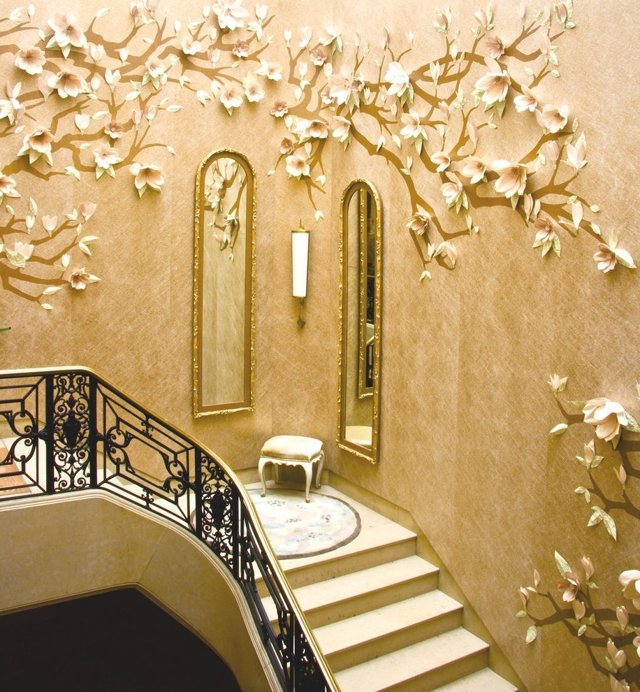 Wallpaper Wall Accents Intended For Famous 3D Wallpaper Decorating Ideas Staircase Contemporary With Drum (View 9 of 15)
