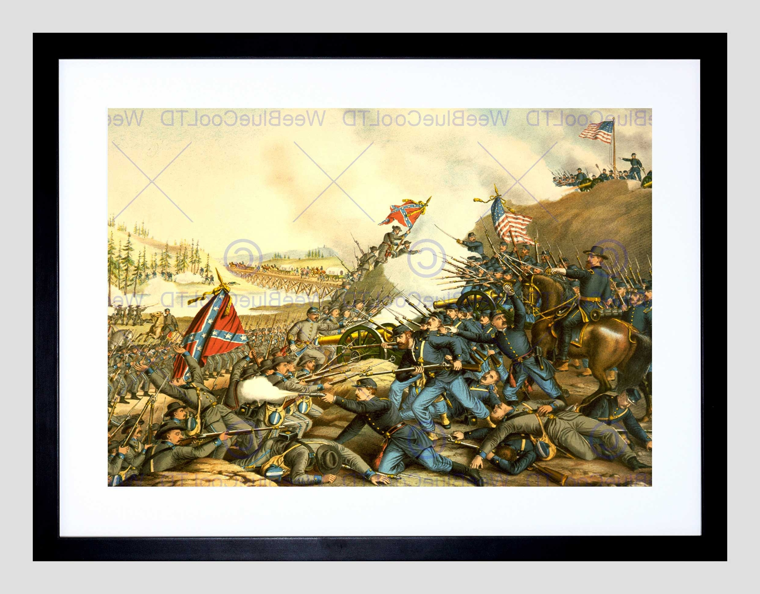 War American Civil Battle Franklin Union Confederate Framed Art Intended For Well Known Confederate Framed Art Prints (View 13 of 15)