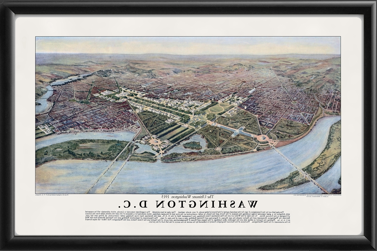 Washington Dc 1915 – Vintage City Maps, Restored City Maps Inside Preferred Washington Dc Framed Art Prints (View 15 of 15)