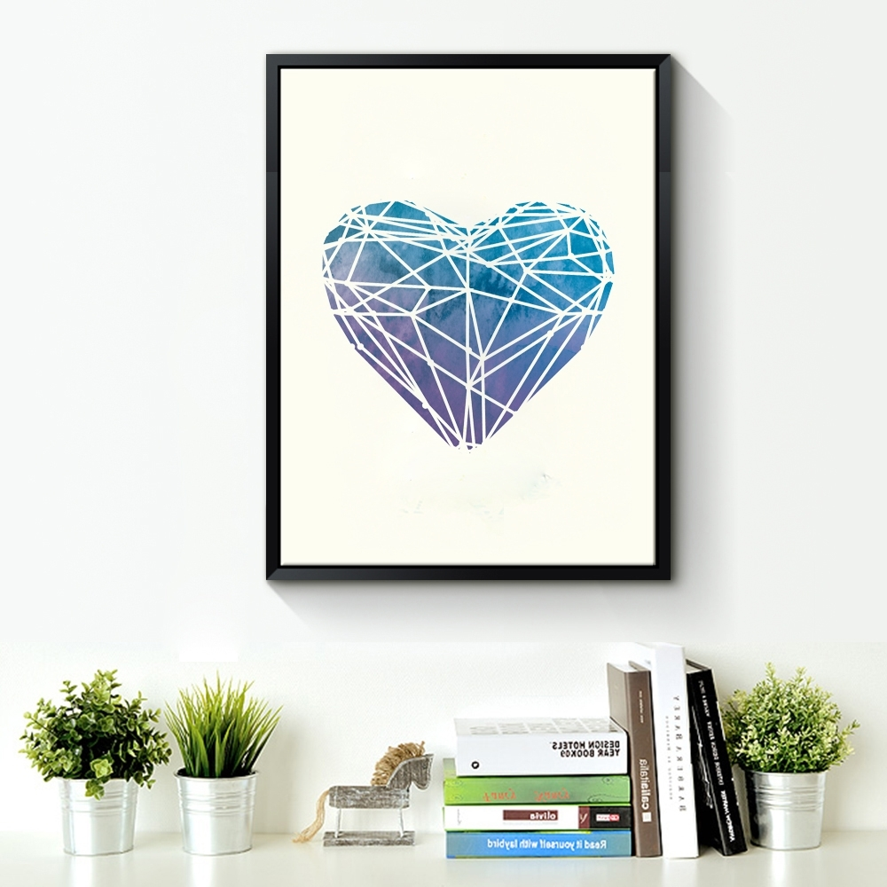 Watercolor Heart Canvas Art Print Poster, Wall Pictures For Home Throughout Widely Used Hearts Canvas Wall Art (View 15 of 15)