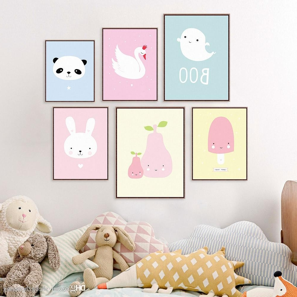 Well Known 2018 Kawaii Animal Panda Poster Print A4 Modern Nordic Cartoon Intended For Modern Nursery Canvas Wall Art (View 14 of 15)