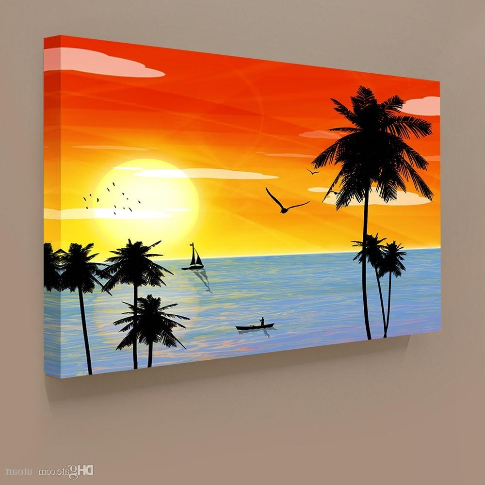 Well Known 2018 Sunset Landscape Hawaii Seascape Canvas Painting Home Decor In Hawaii Canvas Wall Art (View 14 of 15)