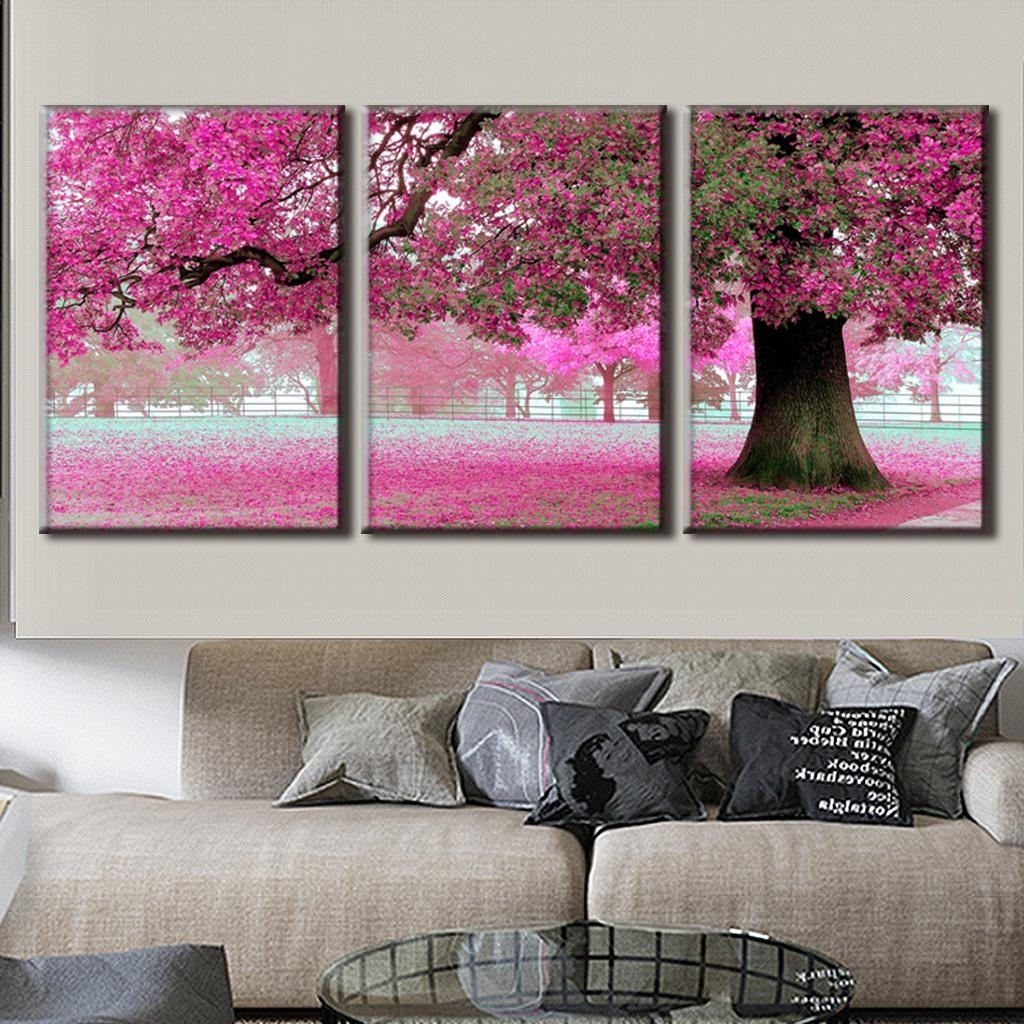 Well Known 3 Pcs/set Discount Framed Paintings Modern Landscape Canvas Print Intended For Pink Canvas Wall Art (View 14 of 15)