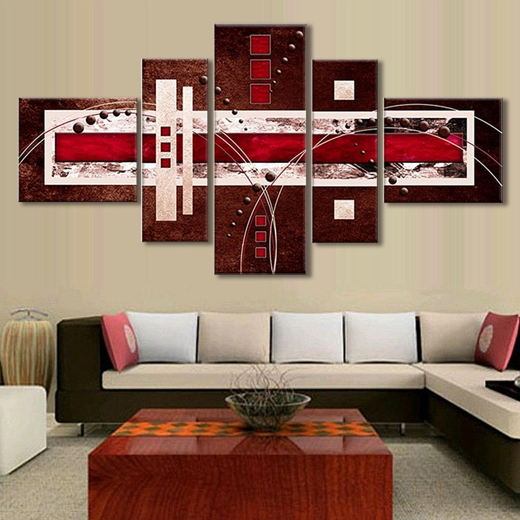Well Known 5 Pcs/set Combined Modern Abstract Oil Painting Brown Red Cream With Red Canvas Wall Art (View 14 of 15)