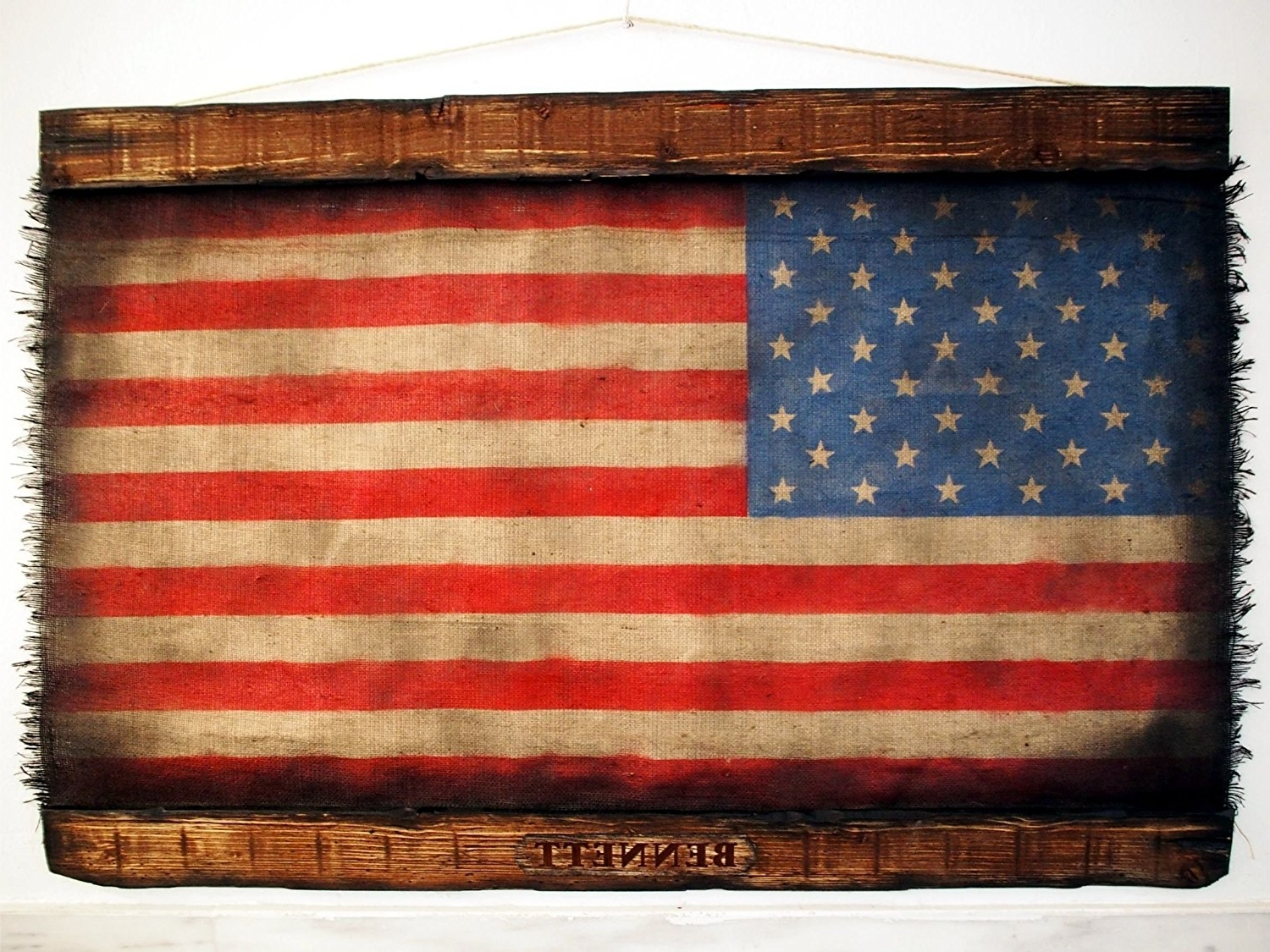 Well Known American Flag Fabric Wall Art Pertaining To Amazon: American Flag Made Of Worn Out Burlap And Wood (View 2 of 15)
