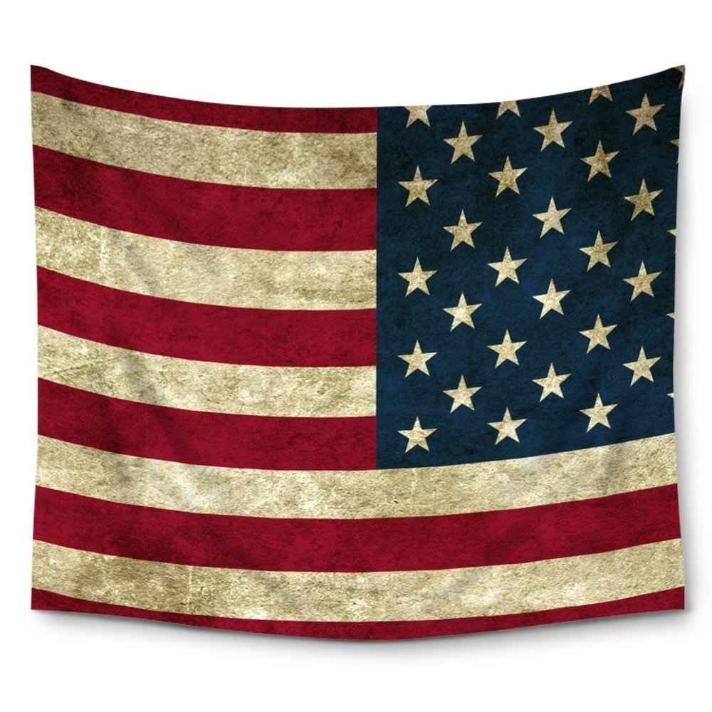Well Known American Flag Fabric Wall Art With Regard To Charmhome American Flag Grunge United States Usa Wall Tapestry (View 3 of 15)