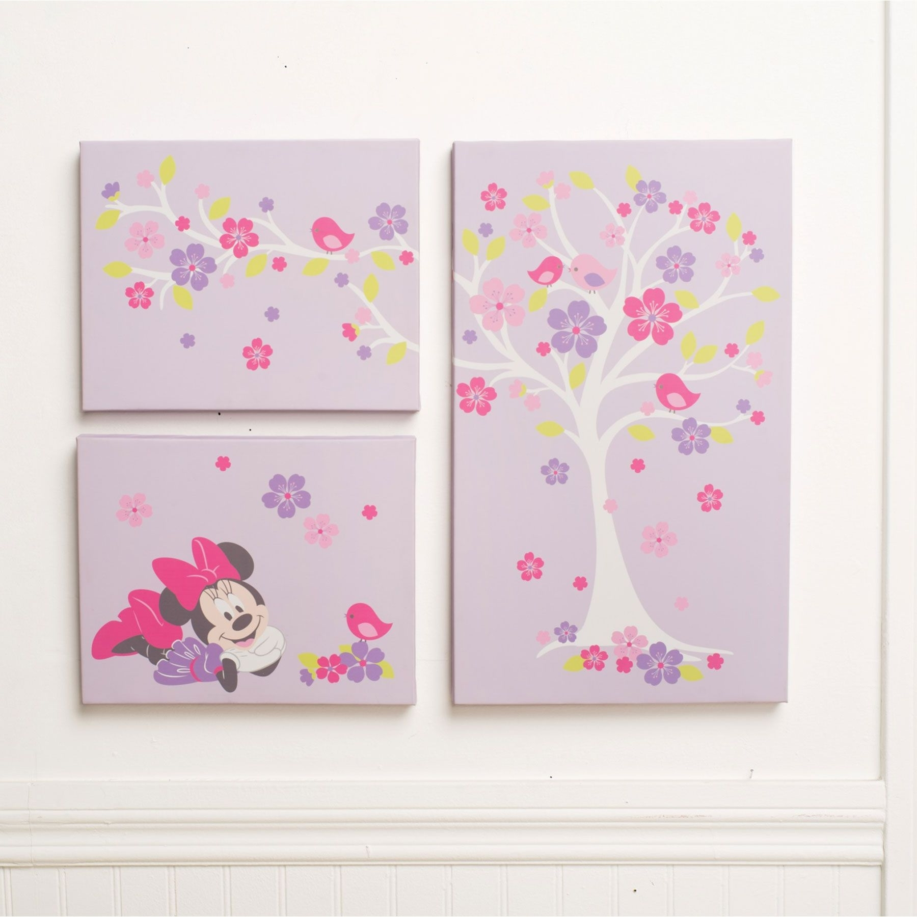 Well Known Baby Room Canvas Wall Art Throughout Minnie Mouse Love Blossoms Premier 3 Piece Canvas Wall Art (View 8 of 15)