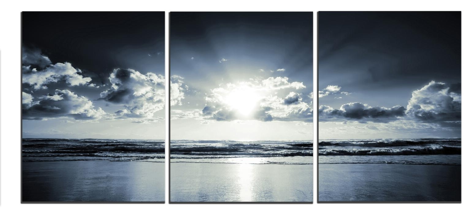 Well Known Black White Sunset Sea Modern Canvas Art Wall Decor Landscape For Landscape Canvas Wall Art (View 13 of 15)