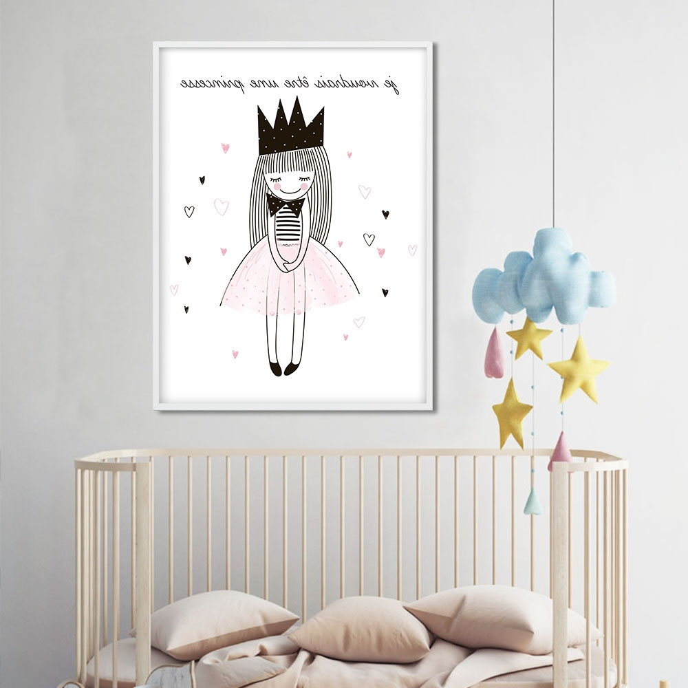 Well Known Children Posters Cute Cartoon Girl Wall Art Canvas Prints Cartoon Within Nursery Canvas Wall Art (View 14 of 15)