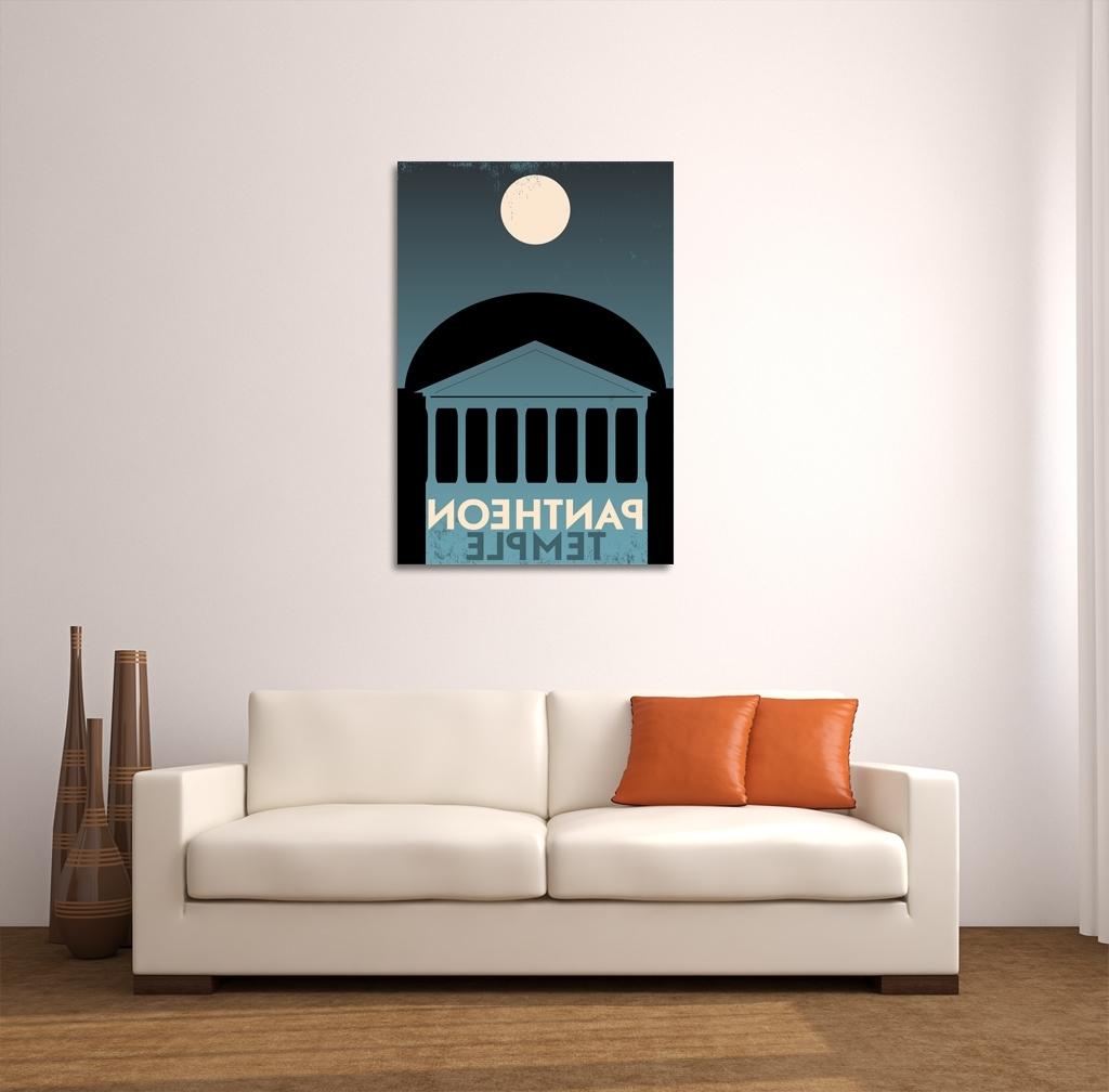 Well Known Greece Canvas Wall Art For Pantheon Greece Vintage Travel Poster Canvas Wall Art (View 15 of 15)