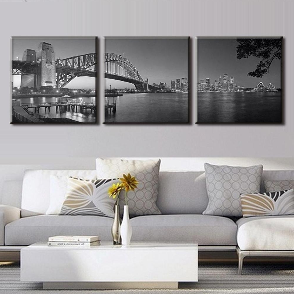 Well Known Grey Canvas Wall Art With Regard To 3 Pieces/set Sydney Harbour Bridge In Grey Canvas Prints Painting (View 5 of 15)