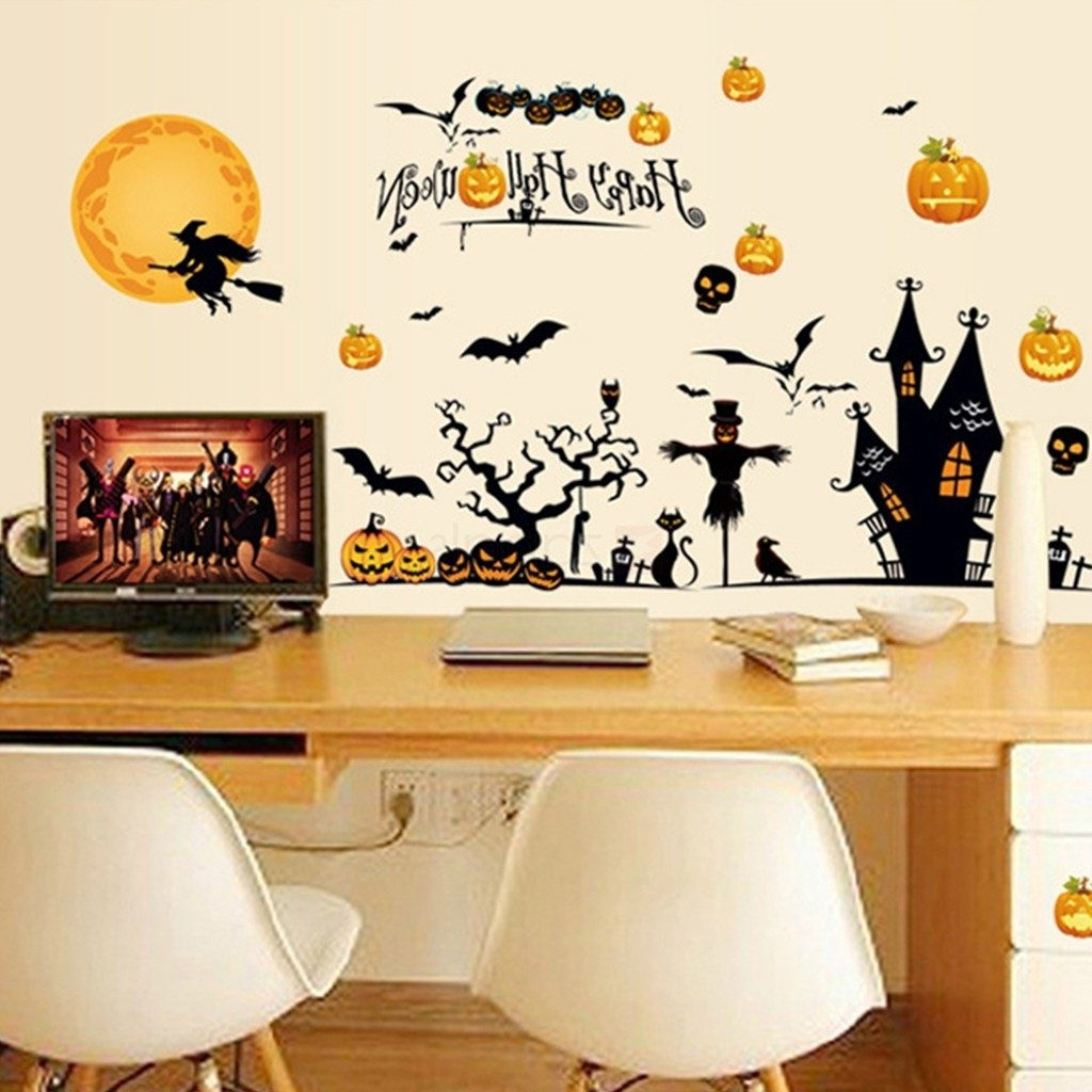 Well Known Halloween Led Canvas Wall Art In Fancy Idea Halloween Wall Art Or Theme D Cor Stickers Diy Vinyl (View 11 of 15)